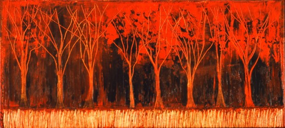 Forêt, huile sur toile, 20 X 44 po (vendu)