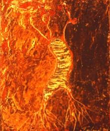 Germination # 2, encaustique et huile sur toile, 12 X 10 po (vendu)