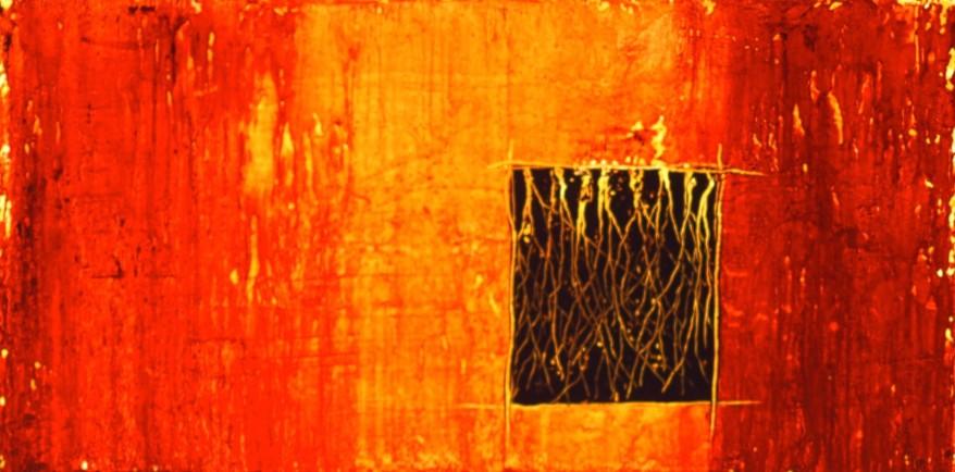 Horizon # 4, encaustique et huile sur toile, 20 X 40 po (vendu)
