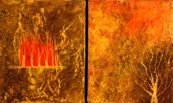 Lueur, encaustique et huile sur toile, diptyque 12 X 10 po (vendu)