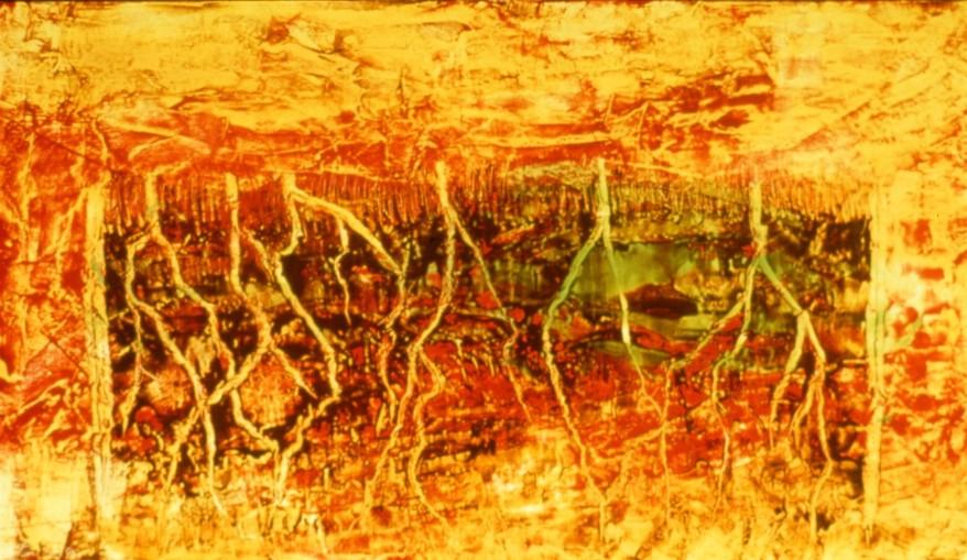 Règne minéral, encaustique et huile sur toile, 38 X 68 po