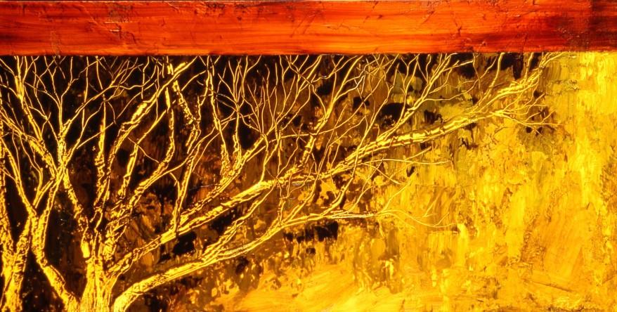 Tilleul, encaustique et huile sur toile, 20 X 40 po (vendu)