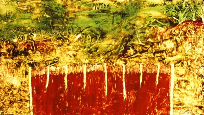 Y a-t-il un paradis, encaustique et huile sur toile, 38 X 68 po (vendu)