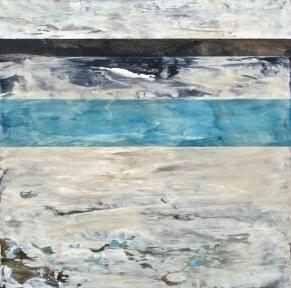 Roche bleue, Techniques mixtes sur toile, 12 X 12 po, 2014 (vendu)
