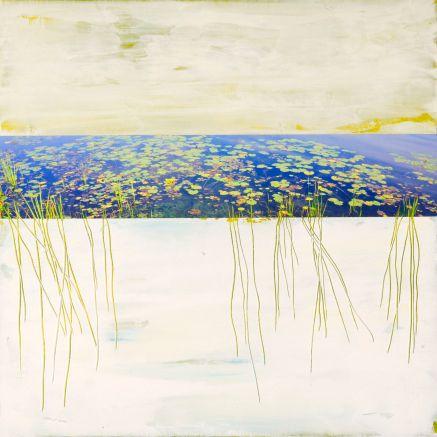 Le Marais # 5, Techniques mixtes sur toile, 16x16po (vendu)