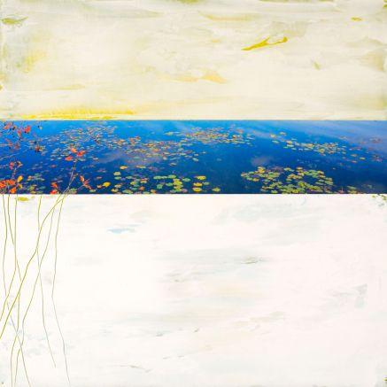 Le Marais # 6, Techniques mixtes sur toile, 16x16po (vendu)