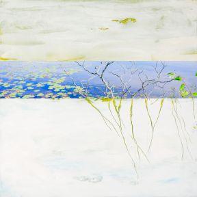 Le Marais # 4, Techniques mixtes sur toile, 16x16 po (vendu)