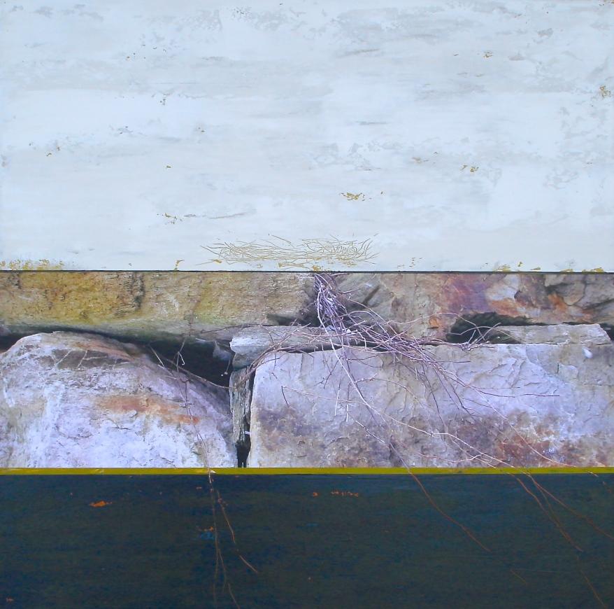 Roches-Nid, Techniques mixtes sur toile, 36 x 36po, 2014 (vendu)