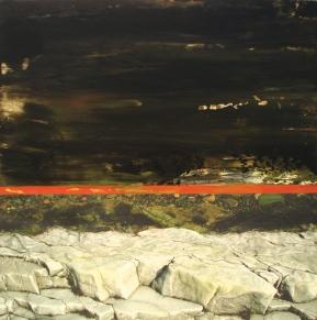 Roches-Varech-Marée noire, Impression numérique et acrylique sur toile, 24 x 24po - Prix d'excellence - Musée des beaux-arts de Mont St-Hilaire (Vendu)