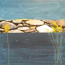Roches_Fleurs #4, Techniques mixtes sur toile, 16x16 po, 2014