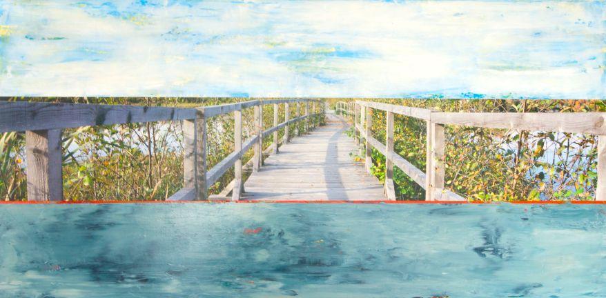 Le Marais #3, Techniques mixtes sur toile, 24x48po, 2014 (Collection Loto-Québec)