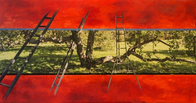 Rouge-3 échelles_2015_ Impression numérique de qualité archives et acrylique sur toile _36x68po