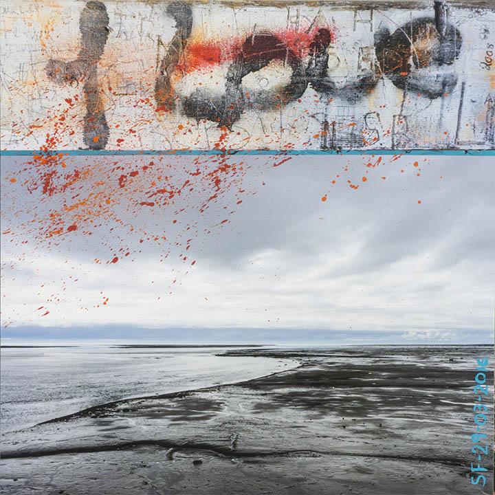 I Love-Marée basse_Impression numérique et acrylique_marouflée sur bois_40X40po