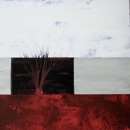 Arbre rouge, huile sur bois, 36 X 36po_2012