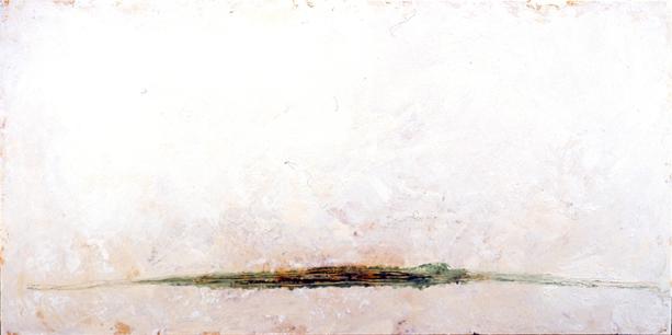 Le marais, encaustique et huile sur toile, 40x80po