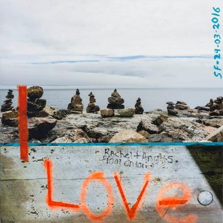 I Love-Inukshuk_Impression numérique et acrylique, sur papier coton marouflé sur bois_20po X 20 po